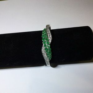 Green and diamond bracelet sterling silver. New!